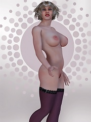 Titted 3D Kitty getting fucked in both holes