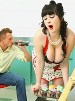 smoking hot big tits black hair babe nailed hard in these hot screaming kitchen fuck pics and 3minute movie