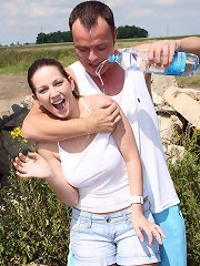 A guy teasing a girl fucking her