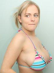 Victoria in a blue bikini