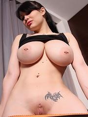 Goth babes big pierced tits in a black top