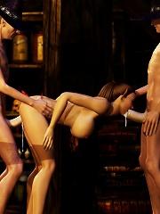 Sexy Priestess feels 3D partner untill gets screwed