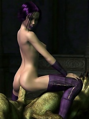 He is hugging that Elf-fucking guide 3D prostitute from behind and she is all shaking