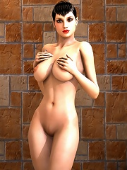 Chained Cartoon Vigrin with hard breasts