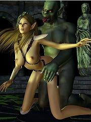 3D Vigrin bent over by abused Prisoner and cums