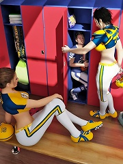 Football shemale players with their trainer punish a thief who has made way into the locker room to steal their champion cup.
