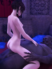 Sensual Student licking 3D Giant in the room