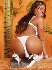 Exotic shemale looks fascinaing in white stockings
