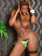 Bombshell tranny shows off her huge she-meat