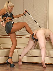 Young fatso busted wanking off gets brutal cock trampling from his mistress