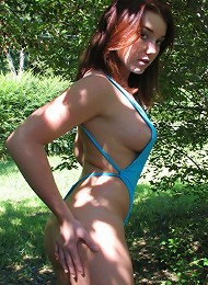 Heidi Honey in a tiny swimsuit