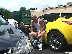 Gay craziness in a sports car