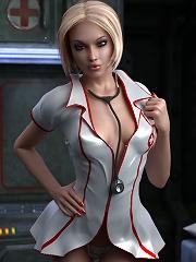 3D Priestess with heavyweight strapon licks Friend
