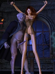3D Girlie got forced to suck pervert Demon and comes