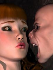 Anime Lesbian swallows innocent 3D Goblin