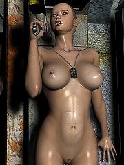 3D dickgirl with soft dildo gets her ass bent over