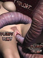 A redhead 3D babe fucked by tentacles