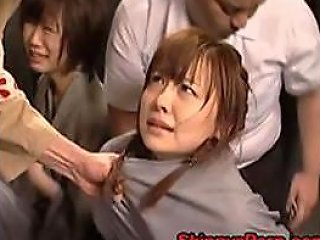 Bound Japanese Babe Gets Her Hairy Pussy Fisted By Cruel Prison Guards