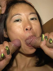 Sucking and fucking many cocks makes her a happy and busy girl
