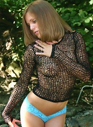 Amazing teen cutie in fishnet top and a hot hot asssss