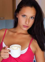 July Saint strips butt naked over her morning coffee