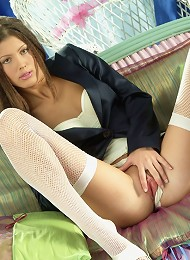 Panty and pussy spreading on the couch