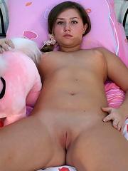 Fresh fatty demonstrates her little pink smoothie