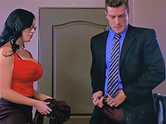 Office Whore With Amazing Fake Tits Fucks The New Guy