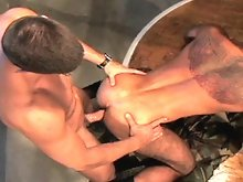 Everyone's favorite furry pocket rocket, Steve Cruz, teams up with tall, muscle dude Max Schulter in this kinky video. Not only do these hot spun