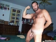 Dude with hairy balls showing off his cock and then jerks it
