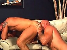 After stuffing his cock inside of his buddy's tight ass, he pulls it out and shoots hot jizz