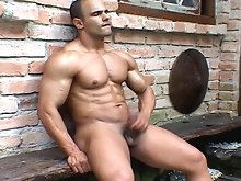 When Gustavo Levu catches a well built John Spinelli out and about in the woods. John can only please his fan. So he poses and shows off for another m
