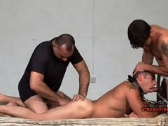 Two perverted men tie up a straight guy, force him to play pony-game and spank his ass