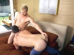 Chris Bines loves cock and jumped at the chance to deep throat Max London's thick piece of tube steak.