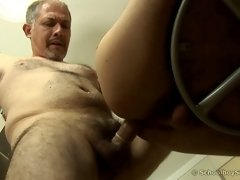 Tight young ass fucked by old dick in the kitchen