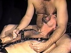 Two old guys help this leather clad guy take every inch of dick inside his butthole