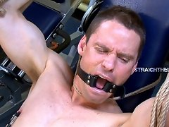 Bound straight dude gets his bum tortured with a fucking machine