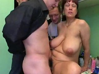 Mature Lets Three Young Men Have Her