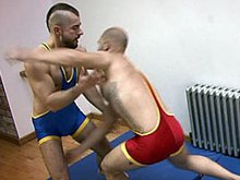 Hot videos of two muscle hairy men wrestle and fuck