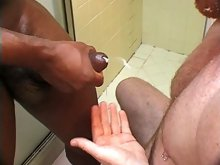 Two naughty bears team up on each other in the shower and suck cocks for hot jizz
