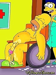 Lisa and Marge Simpsons sucking Homers dick