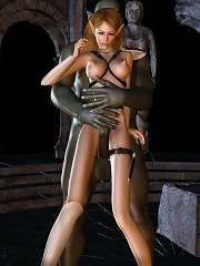 Tender Doll masturbates and penetrated by Mutants dick