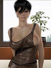 Poor 3D Neko-girl with wonder tits