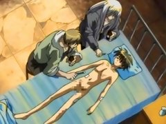 Young hentai boy naked in bed getting his dick touched