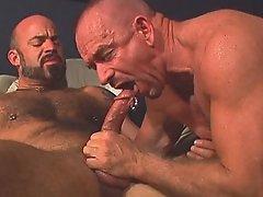 Pierced bear's dick spews hot jizz