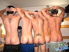 5 horny college dudes fuck some hotties then get tricked into this amazing gay bi group sex hot babe group anal sex
