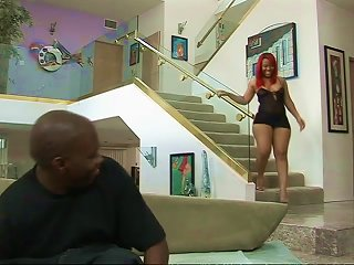 A Big Booty Redhead Ebony Broad Takes A Big Black Dick Up Her Gash