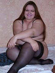 Amateur plumper in black stockings