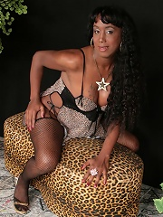 This pitchy tgirl looks hot in fishnet nylons