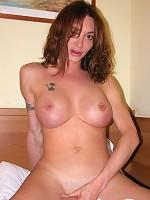 Famous shemale pornstar Mariana Cordoba taking off a jeans mini skirt